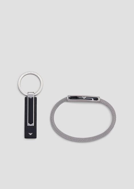 Bracelet et porte-clés en acier inoxydable pour homme