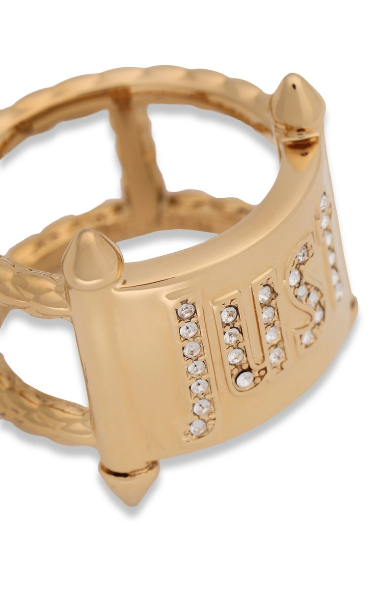 JUST CAVALLI Gold-tone ring with JC logo Ring Woman e
