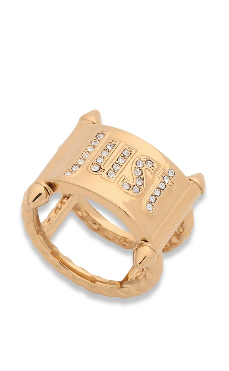 JUST CAVALLI Gold-tone ring with JC logo Ring Woman f