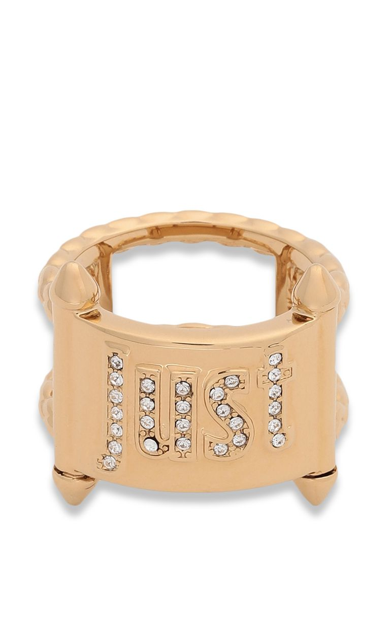 JUST CAVALLI Gold-tone ring with JC logo Ring Woman r