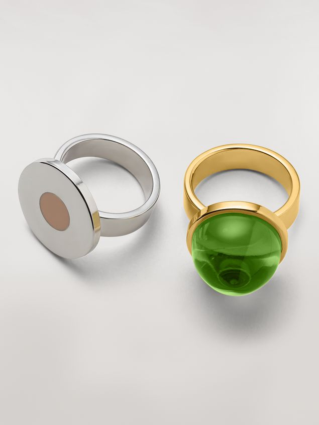 Marni MOD theme set of two sphere and disk metal and resin rings Woman - 4