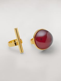 Marni MOD theme set of two sphere and cylinder metal and resin rings Woman