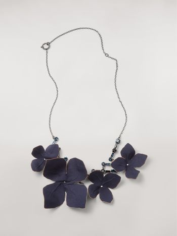 Marni Short FLORA necklace in strass and fabric  Woman f