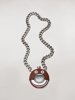 Marni MONSTER necklace in metal and leather with chain Man