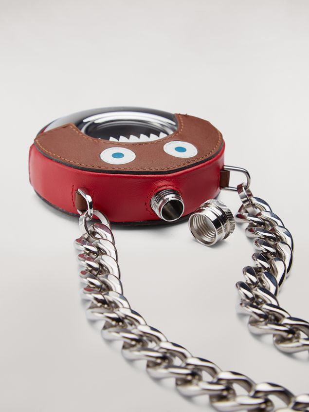 Marni MONSTER necklace in metal and leather with chain Man - 3