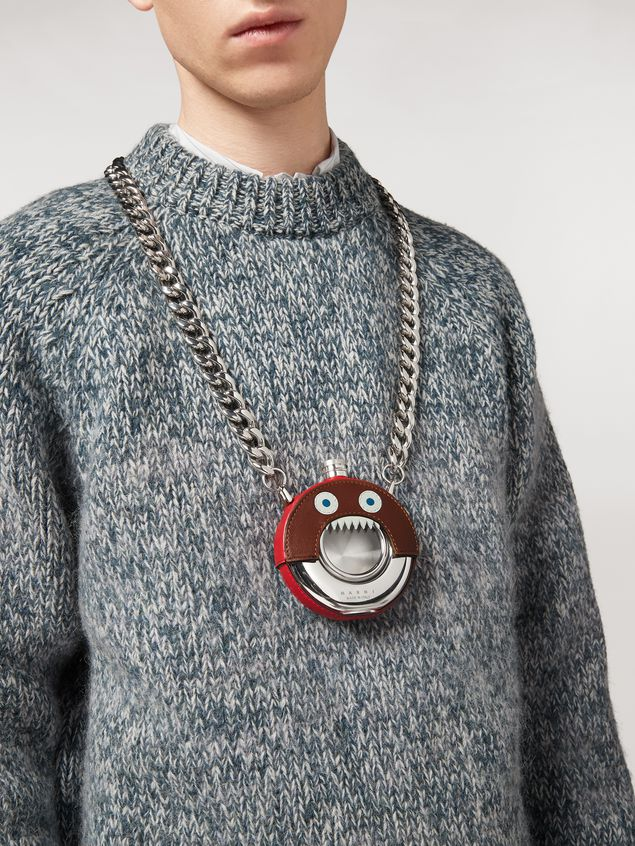 Marni MONSTER necklace in metal and leather with chain Man - 2