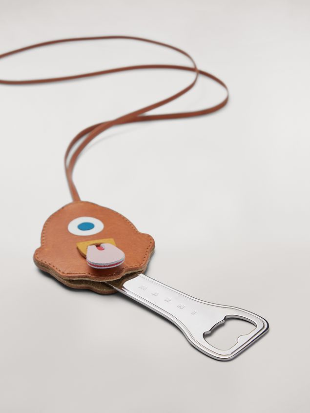 Marni MONSTER necklace in metal and leather with bottle-opener Man - 4
