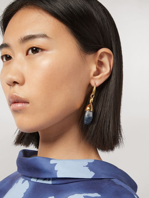 Marni Blue STONES hook earrings in metal and stone Woman - 2