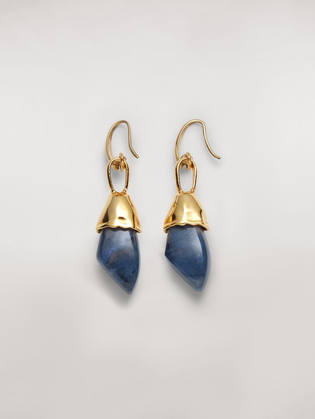 Marni Blue STONES hook earrings in metal and stone Woman - 1