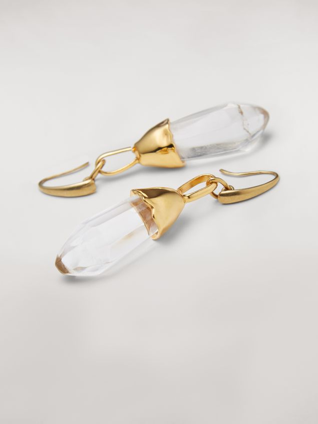 Marni Transparent STONES hook earrings in metal and stone Woman - 3