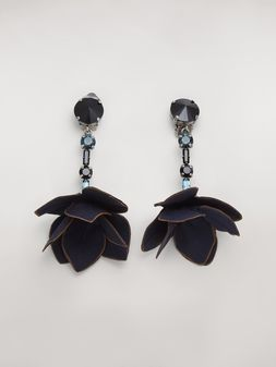 Marni Blue FLORA clip earrings in strass and fabric  Woman
