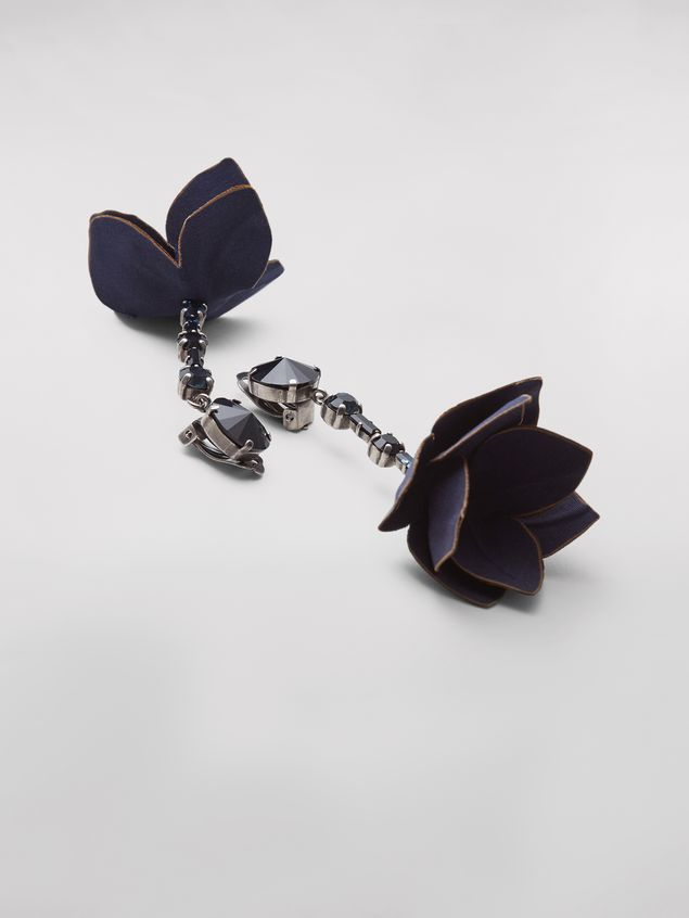 Marni Blue FLORA clip earrings in strass and fabric  Woman - 2