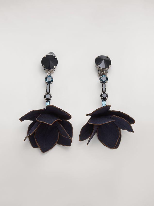 Marni Blue FLORA clip earrings in strass and fabric  Woman - 1