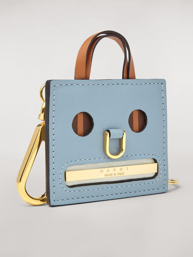 Marni Light blue EMOJI pendant in leather and metal Woman - 2
