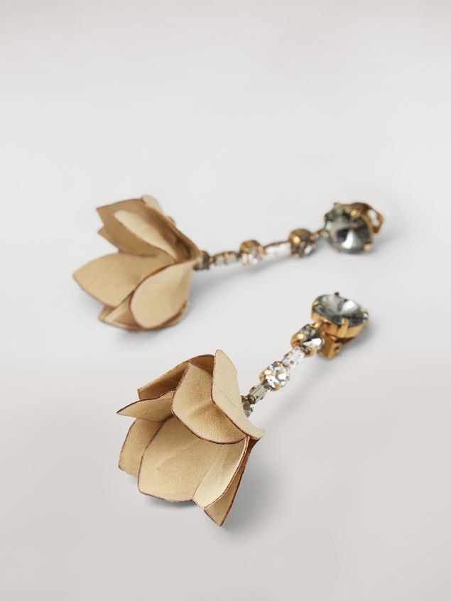 Marni Beige FLORA clip earrings in strass and fabric  Woman - 3