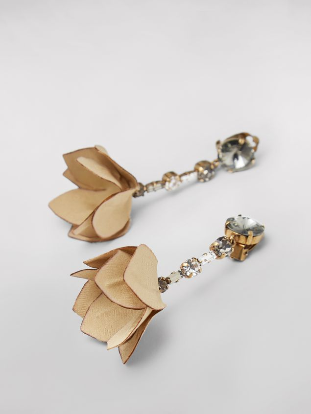 Marni Beige FLORA clip earrings in strass and fabric  Woman - 2