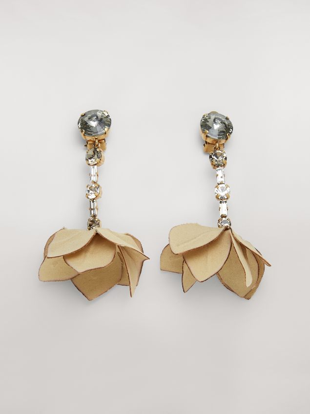 Marni Beige FLORA clip earrings in strass and fabric  Woman - 1