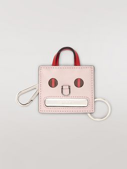 Marni Pink EMOJI pendant in leather and metal Woman