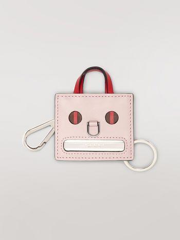 Marni Pink EMOJI pendant in leather and metal Woman f