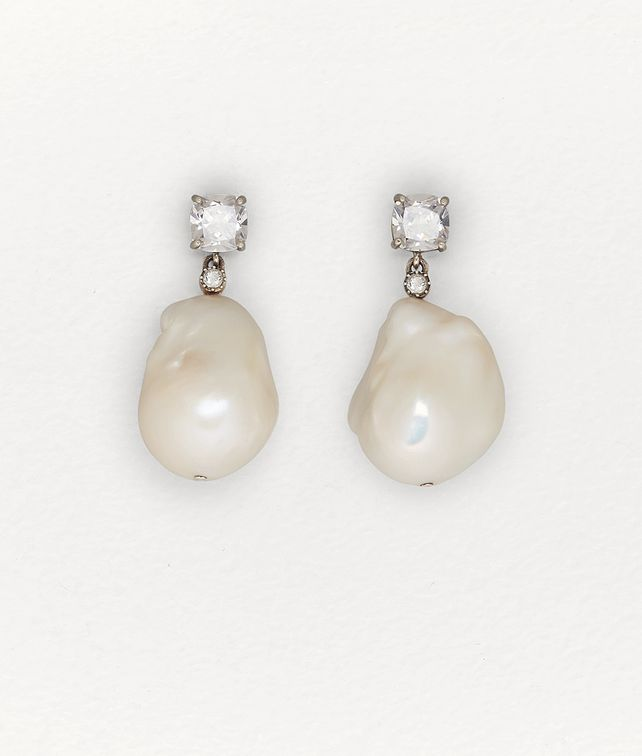 BOTTEGA VENETA EARRINGS IN PEARL AND ZIRCONIA Earrings [*** pickupInStoreShipping_info ***] fp