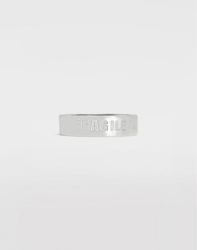 MAISON MARGIELA Silver 'Fragile' engraving ring Ring Man f