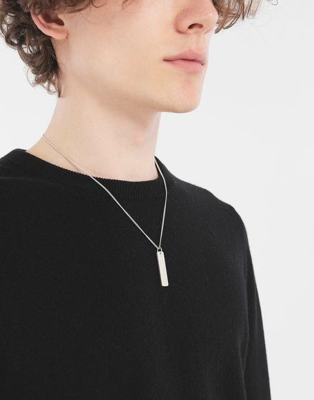 MAISON MARGIELA Silver 'Fragile' engraving necklace Necklace Man r