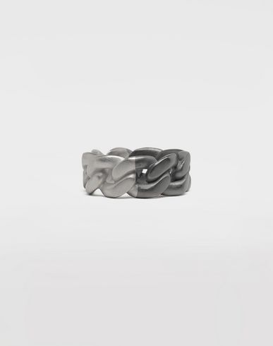 JEWELLERY Silver curb chain ring Silver