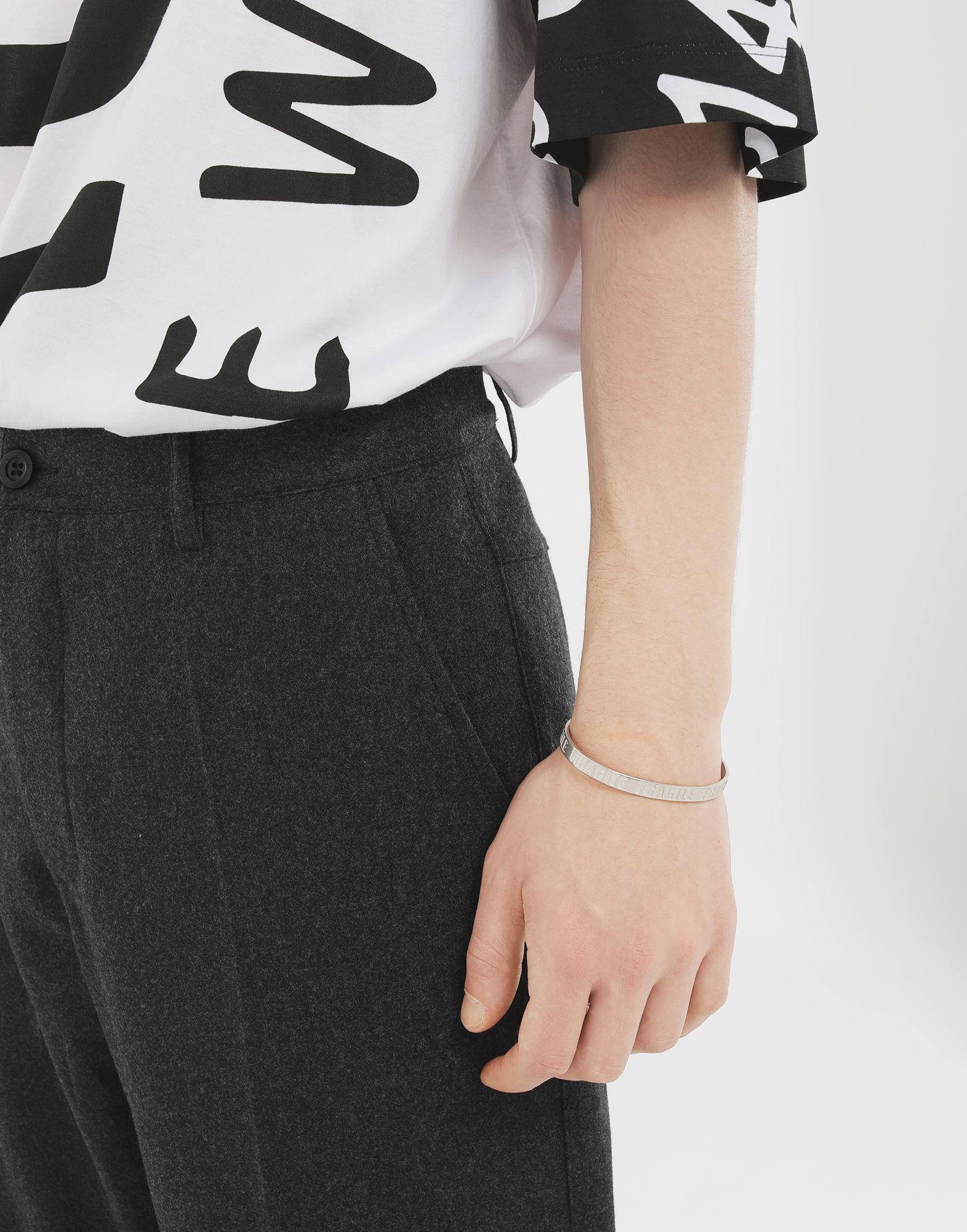 MAISON MARGIELA Silver 'Fragile' engraving cuff Bracelet Man r