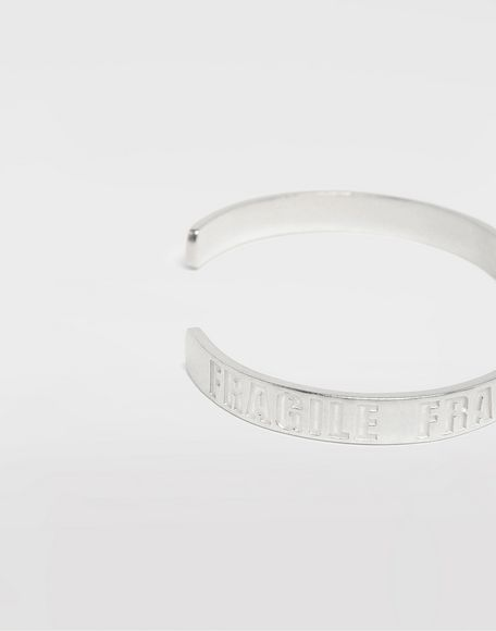 MAISON MARGIELA Silver 'Fragile' engraving cuff Bracelet Man a
