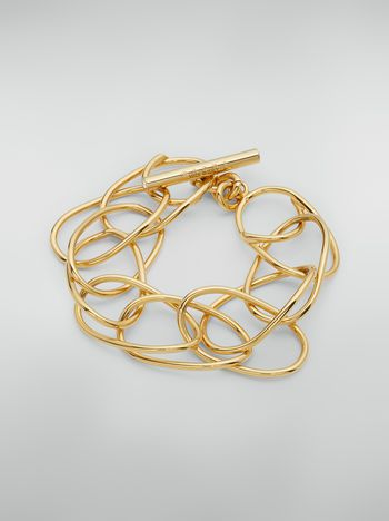 Marni Lightweight oval ring chain bracelet in brass and glass Woman f