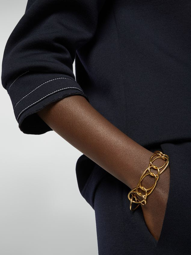 Marni Lightweight oval ring chain bracelet in brass and glass Woman - 2