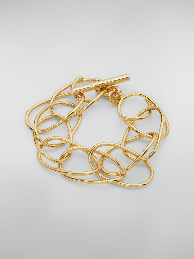 Marni Lightweight oval ring chain bracelet in brass and glass Woman - 1