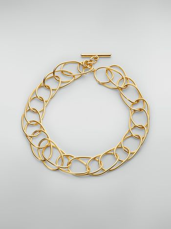 Marni Lightweight oval ring chain necklace in brass and glass Woman
