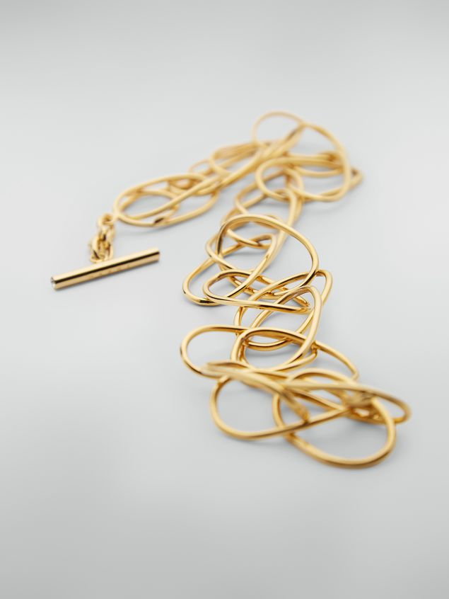 Marni Lightweight oval ring chain necklace in brass and glass Woman - 3