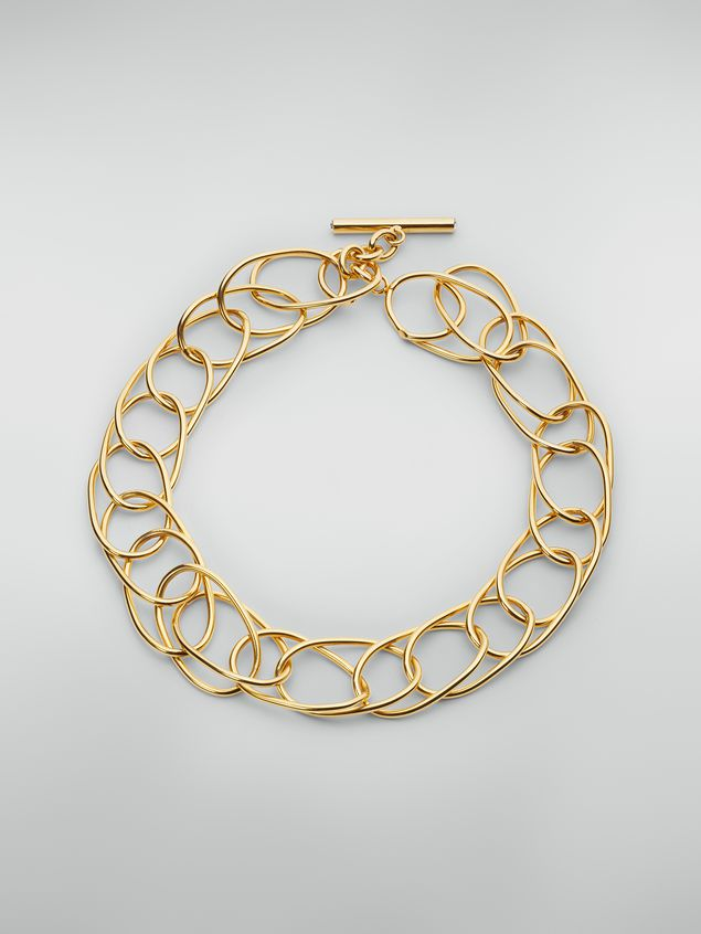 Marni Lightweight oval ring chain necklace in brass and glass Woman - 1