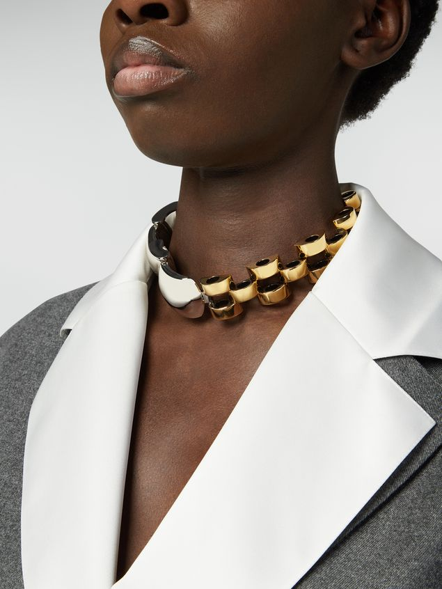 Marni Necklace in silver-and-gold-tone metal mesh Woman - 2