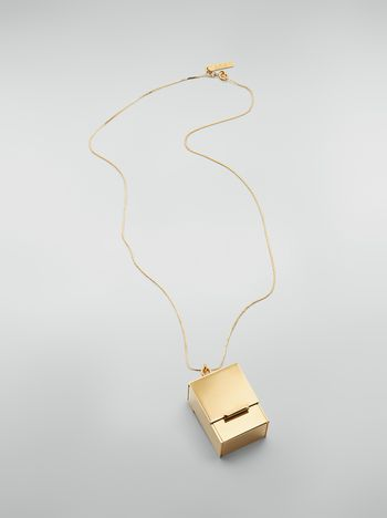 Marni Necklace in brass with box-shaped pendant Woman f
