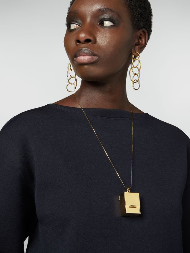 Marni Necklace in brass with box-shaped pendant Woman - 2