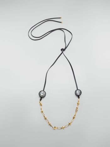 Marni Necklace in brass, glass and leather with maxi strass Woman f