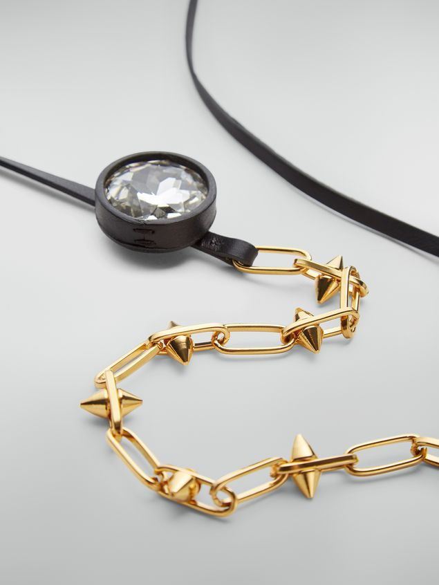 Marni Necklace in brass, glass and leather with maxi strass Woman - 3