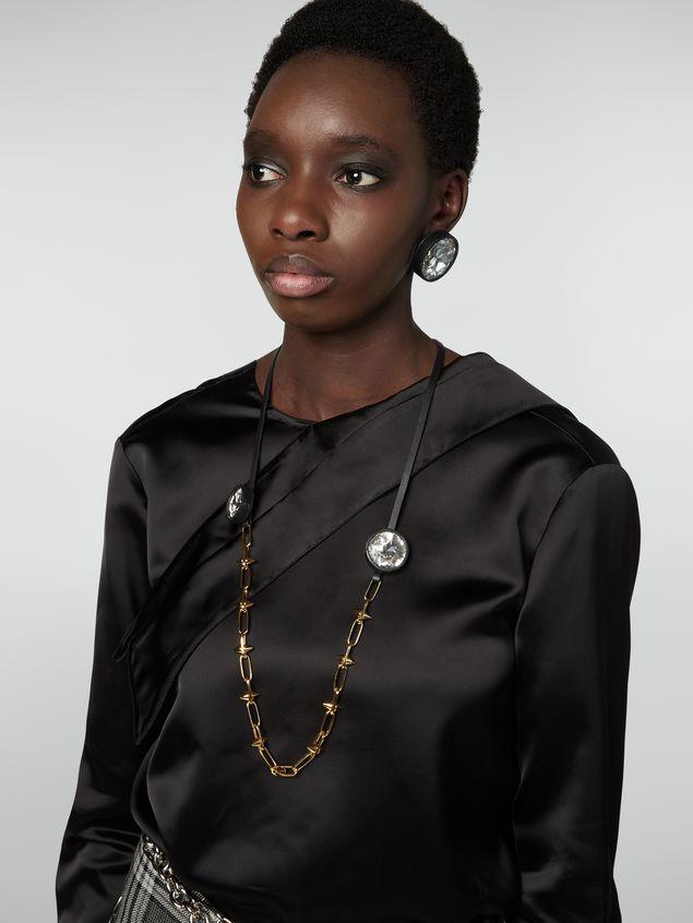 Marni Halskette aus Messing, Glas und Leder mit Maxi-Strasssteinen Damen - 2