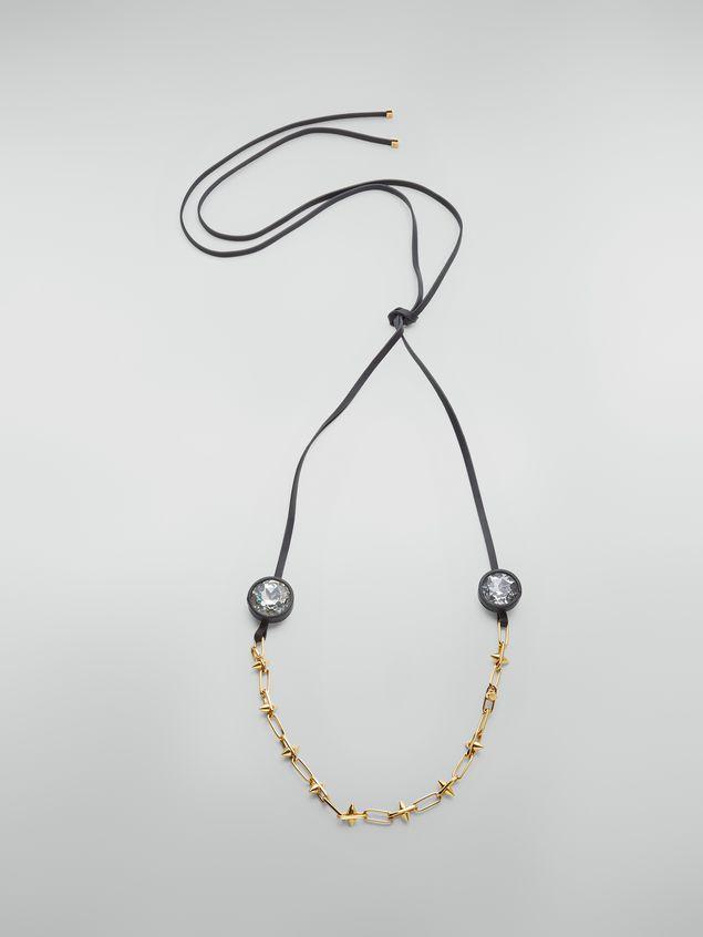 Marni Halskette aus Messing, Glas und Leder mit Maxi-Strasssteinen Damen - 1