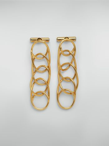 Marni Ohrringe aus Messing und Glas mit leichten Ovalen und Schraubverschluss Damen
