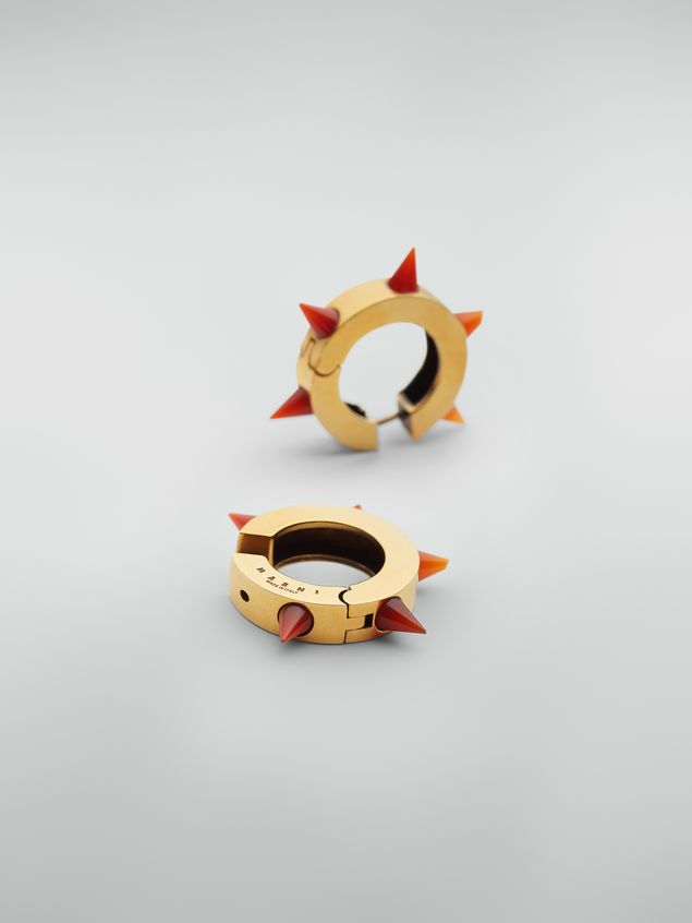 Marni Pierced circle earrings in bronze and resin with spikes Woman - 4