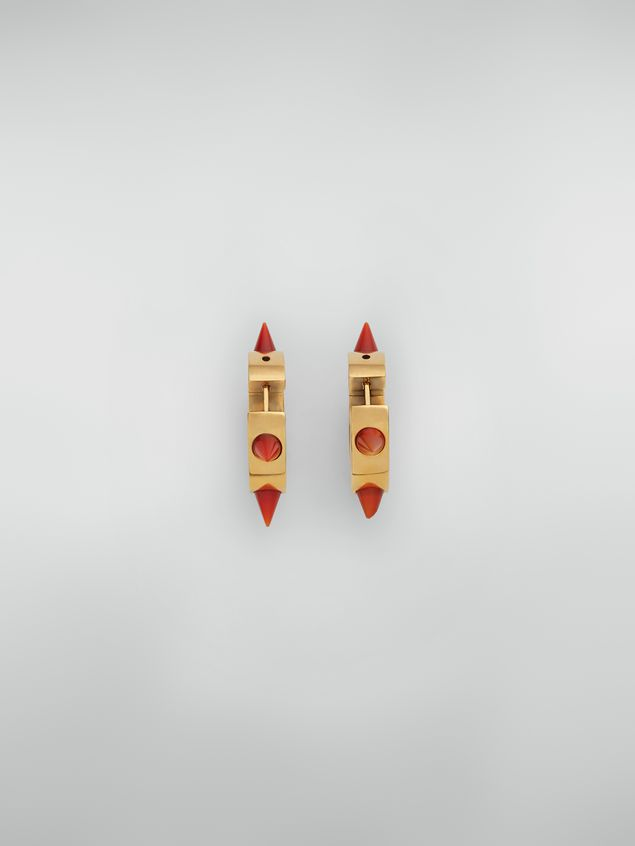 Marni Pierced circle earrings in bronze and resin with spikes Woman - 3