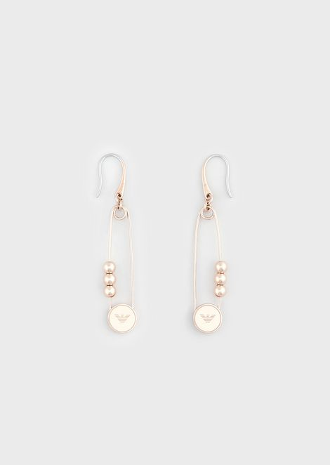 Women's Rose Gold-Tone Stainless Steel Pearl Drop Earrings