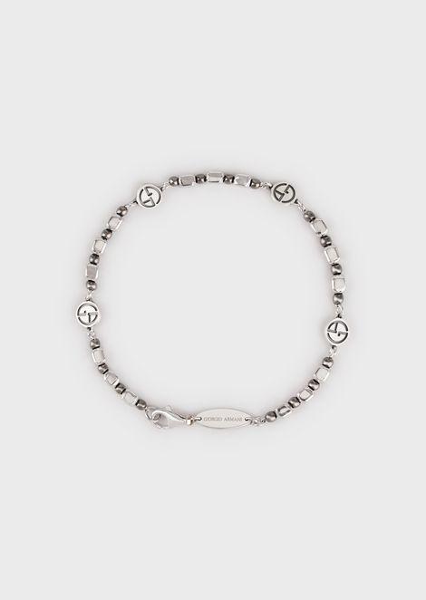 Leather bracelet with silver GA logos