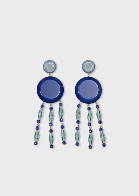 Pendant earrings with round component and fringe