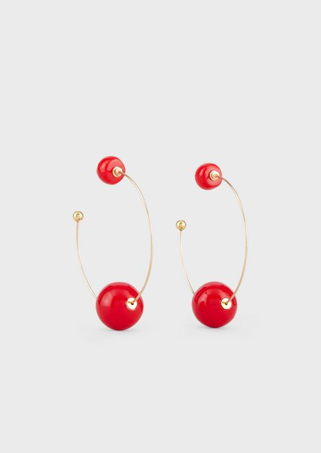 Semicircle earrings with maxi spheres