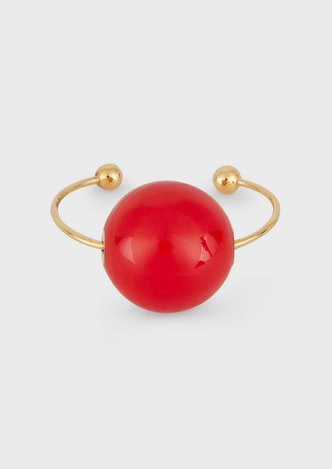 Bangle bracelet with contrasting sphere